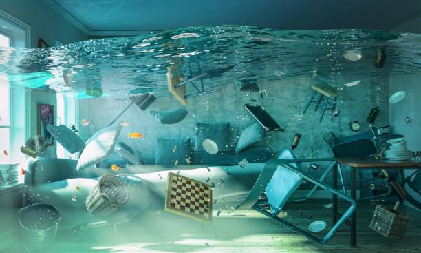 3d rendering image of flooded living room